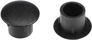 uxcell Shelf Peg Hole Plugs 8mm Dia Black Plastic Tube Cover for Nail Cabinet Button Bracket Cupboard Bookshelf Bookcase Adjustable Shelf Closet, 30Pcs