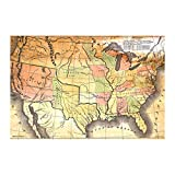 Antique USA Map (36x24) Wall Plaque (White)