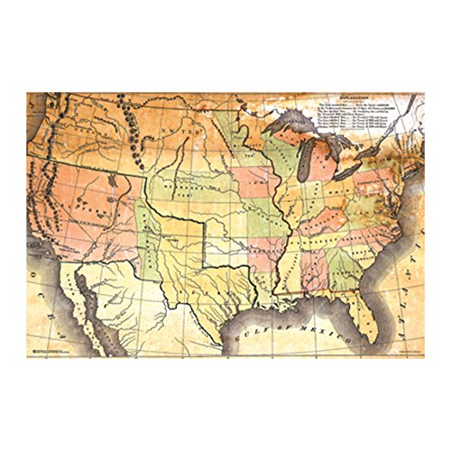 Antique USA Map (36x24) Wall Plaque (White) by Posterservice