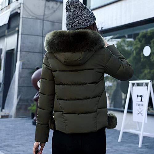 Capa Grün Laterales Joven Mujeres Mujer Abrigos Capucha Corto Outerwear Bolsillos Manga Con Larga Pluma Battercake Casual Moda Unicolor Invierno Casuales Cremallera ZwvqvRB