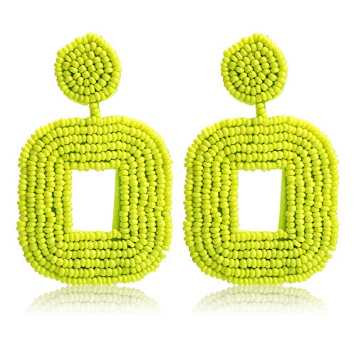 (Women's Beaded Tassel Earrings Long Fringe Drop Bohemian Earings Dangle 7 Colors (Square-Fluorescent green Small))