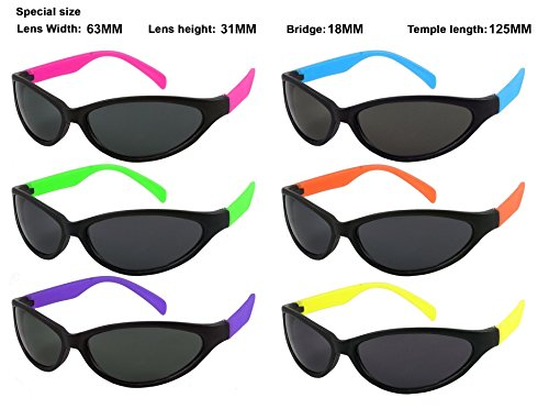 Edge I-Wear 6 Pack Neon Sport Style Sunglasses with CPSIA certified-Lead(Pb) Content Free and 100% UVA/UVB Protection 5460R/SET-6 (Made in - Uv Protection Meaning 100