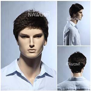(WG-SRT1168S-6)Short Straight Men Wig,Darkest Brown color.