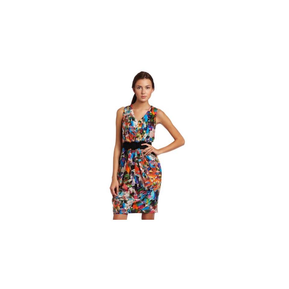 Donna Morgan Womens Sleeveless Chiffon Dress