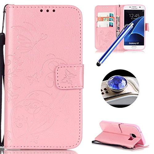 [ Samsung Galaxy S7 ] Funda Protector de Funda para Telefono Movil,Samsung Galaxy S7 Funda Caso de PU Cuero Leather,El Patrón de la Tribu Retro Moda Funda para Samsung Galaxy S7,Flip Folio Bookstyle c Mariposa Rosa