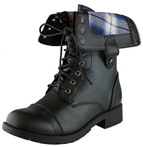 Cambridge Select Women's Military Combat Foldable Plaid Cuff Mid Calf Ankle Boot (9 B(M) US, Black)