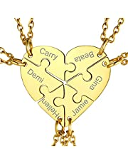 GoldChic Jewelry Hart Puzzelkettingen Gepersonaliseerd, roestvrij staal, split-vriendschapshangers, voor zijn en haar, moeder dochter, familie sieraden, paar geschenken