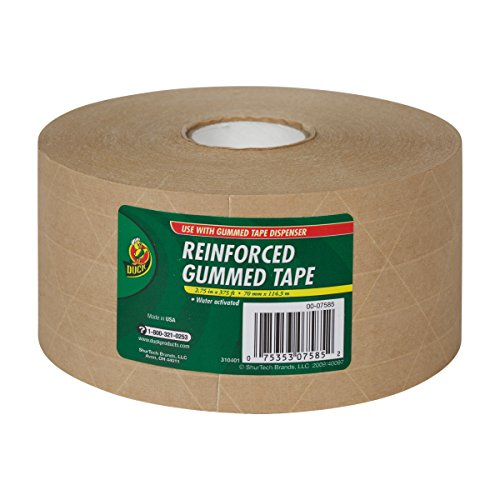 Duck Fiberglass Reinforced Gummed Kraft Paper Tape, Water Activated, 2.75 Inches x 375 Feet (964913)