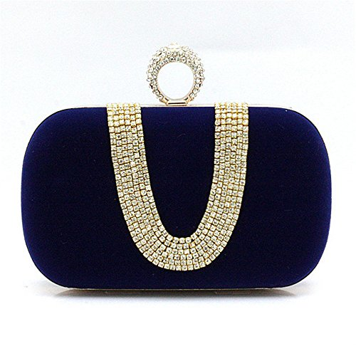 Bride's Evening Rabbit Make Royal Handbag Handbag Lovely Handbag Mommy Elegant Womens Royal Blue Rhinestone Color Blue up dIfdOxqw8