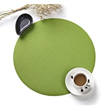 HYSENM Set of 4 Elegant Waterproof Heatproof Woven Round Dining Table Mats Placemats, green