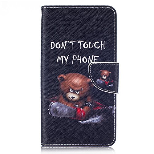 Price comparison product image LG G Stylo 2 Case, LG Stylus 2 Wallet Case, Easytop Slim Fit Stand Feature PU Leather Wallet Folio Flip Cover Protective Cover Case with Card Holders Cash Pocket Magnetic Closure (Chainsaw Teddy Bear)