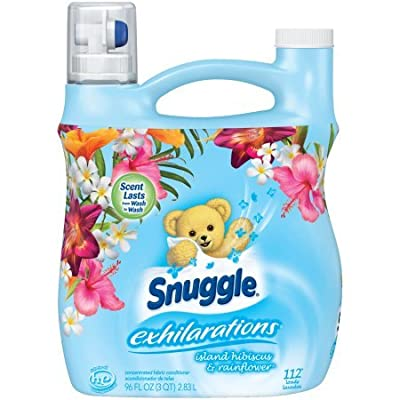 Snuggle Exhilarations Island Hibiscus & Rainflower Concentrated Liquid Fabric Conditioner set of 4, 96 fl. oz per Jug a Total of 384fl. oz
