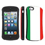 Apple iphone 5C Ultra Shock Absorbent Tough Grip Black Case By SkinGuardz - Italian Flag