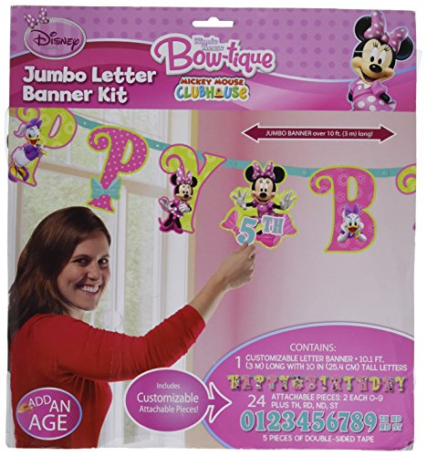 Jumbo Daisy (Disney Minnie Mouse Jumbo Add-An-Age Letter Banner, 1 Piece, Made from Cardboard Paper, Birthday, 10 1/2 Feet x 10