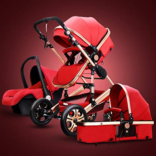 KHUY 2 in 1 Baby Stroller, High Landscape Infant Stroller & Reversible Pram, Foldable Pushchair with Adjustable Canopy, (Color : Red)