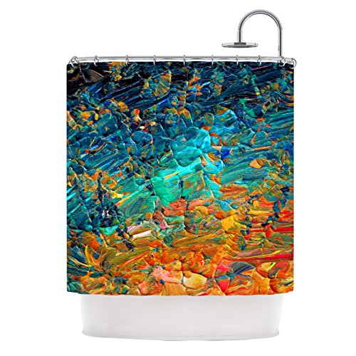 KESS InHouse EBI Emporium Eternal Tide II Teal Orange Shower Curtain, 69 by 70-Inch from KESS InHouse