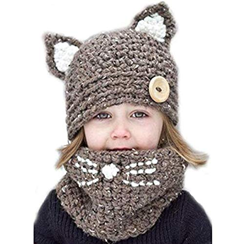VAQM Kids Hat Girls Boys Winter Hats Warm Earflap Hood Scarves Animal Hat Scarf Beanie Scarf Knitted Cap (Kids Hat Scarf for Brown 2-8 Years)