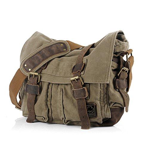 OFTEN Messenger Bag, Vintage Canvas Leather Satchel 15