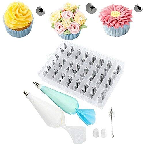 62 Pieces Cake Decorating Tools Supplies Kit Tips Icing Bags Piping Nozzles Set from Unknown