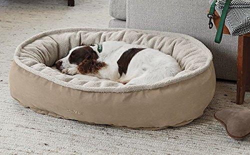 (Orvis Comfortfill Wraparound Dog Bed with Fleece/Small Dogs 15-40 Lbs, Khaki,)