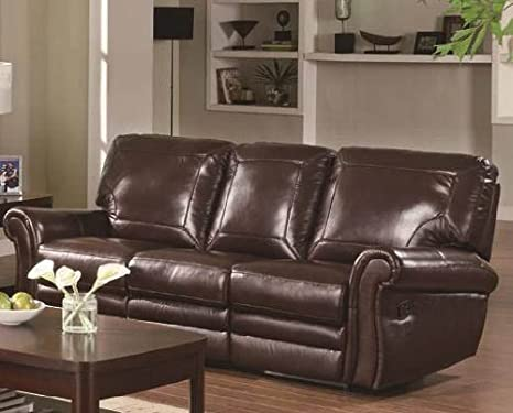 Amazon.com: Reclining Sofa with Rolled Arms in Burgundy ...