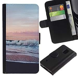 KingStore / Leather Etui en cuir / Samsung Galaxy S5 V SM-G900 / Sea View Pink Sky Horizon Beach;