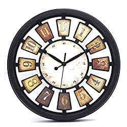 VSENES Antique Plaques Wall Clock Non Ticking Battry Operated, Wall Clocks Industrial Open Back Style Decor for Living Room, Plastic Matt Black Round 13.2