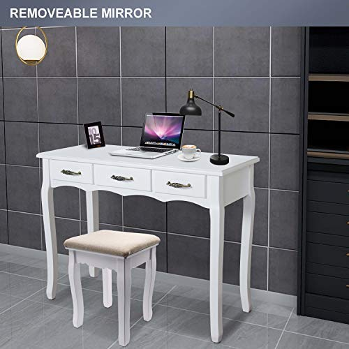 LED Vanity Table,7 Drawers Makeup Dressing Table with Cushioned Stool-White