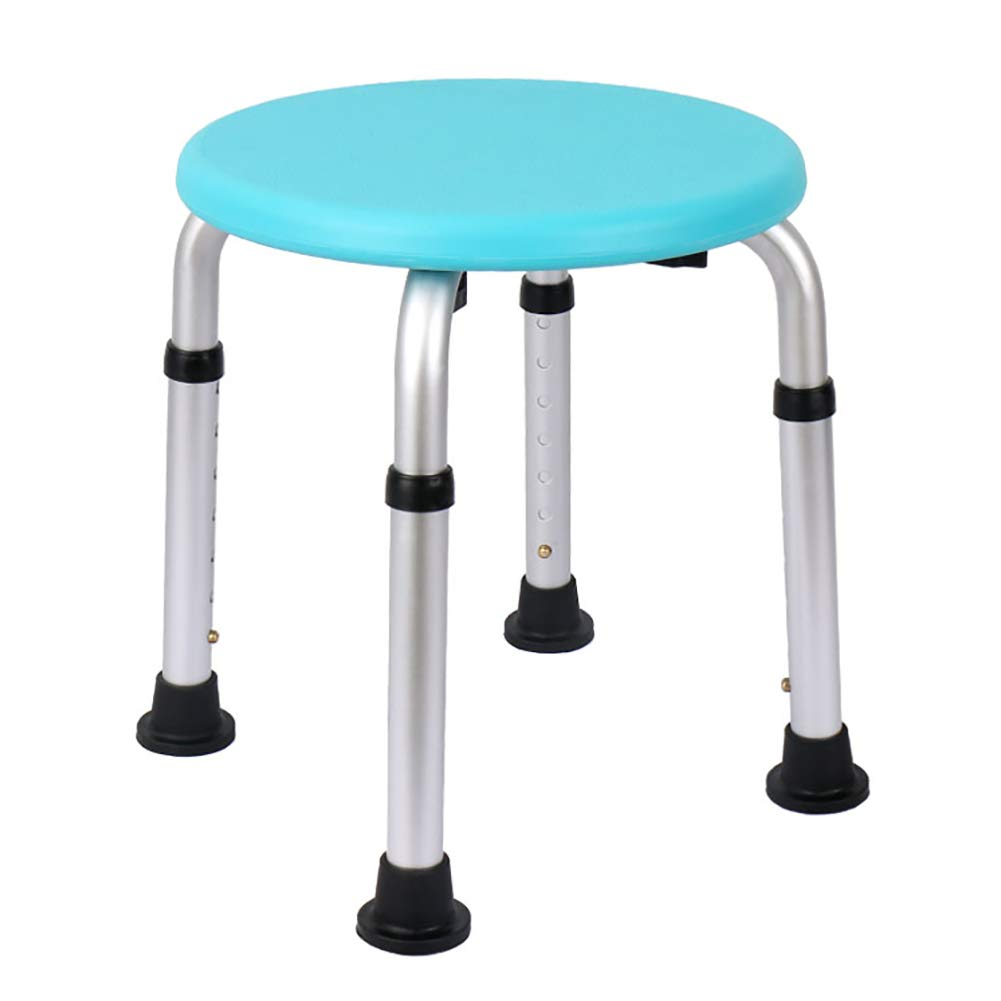 Ai Old Shower Chair Round Bath Stool Height Adjustable Skid (blue)