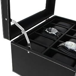 SONGMICS 20 Watch Box Lockable Organizer Black Display Case with Glass Top UJWB301