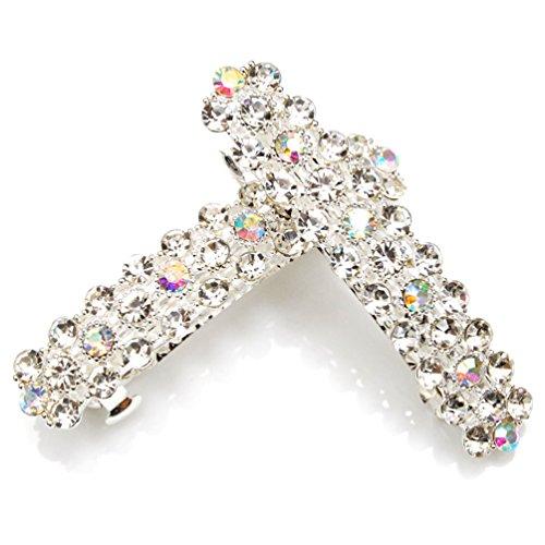 Luxxii - Clear Rhinestone Crystal Hair Barrette Clip Hair Pin (Pack 2, Silver -