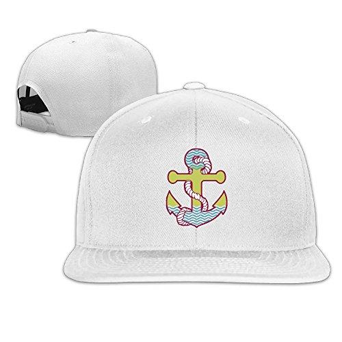 Cap White Chain Anchor (XsWu Rainbow Anchor Flat Bill Snapback Adjustable Ball Hats White)