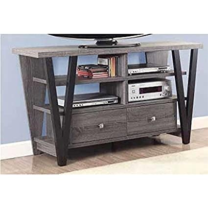 Amazon Com Bowery Hill 60 Tv Stand In Distressed Gray And Black