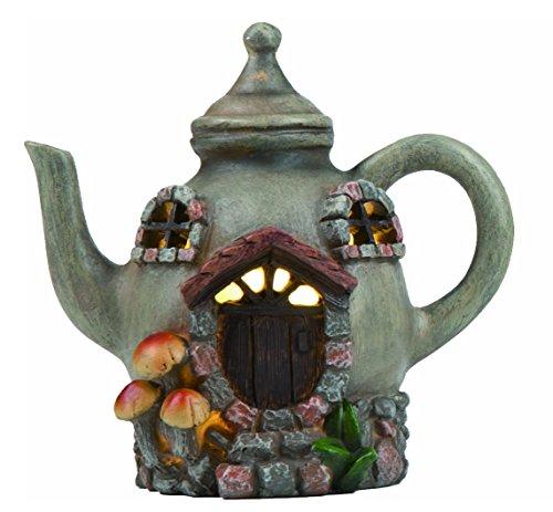 Transpac Imports, Inc. Taupe Tea Pot House Light-up 5 x 5 Resin Stone Fairy Garden Figurine -