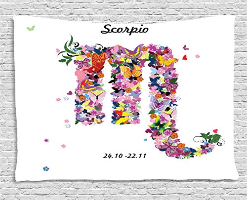 Ambesonne Zodiac Scorpio Tapestry, Floral Spring Inspired Horoscope Sign Design with Butterflies Colorful Wings, Wide Wall Hanging for Bedroom Living Room Dorm, 80