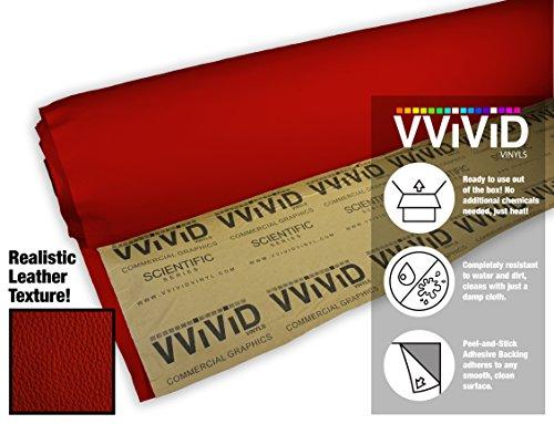 Vinyl Leather Sheet - VViViD Red Adhesive Weatherproof Faux Leather Marine Vinyl (1.49ft x 54