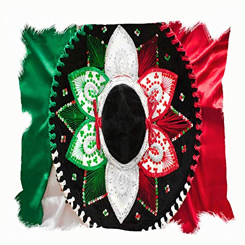 Throw Pillow Cushion Cover, Flag Mexico Mexican Sombrero top View Holidays Decorative Square Accent Pillow Case, 18 X 18 Inch -