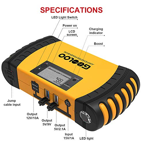 GOOLOO 1000A Peak 20800mAh SuperSafe Car Jump Starter with USB Quick Charge 3.0 (Up to 8.0L Gas, 6.0L Diesel Engine) 12V Auto Battery Booster Portable Charger Power Pack Built-in Smart Protection by GOOLOO (Image #4)