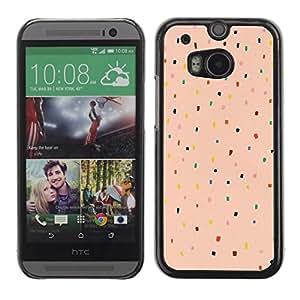 Be Good Phone Accessory // Dura Cáscara cubierta Protectora Caso Carcasa Funda de Protección para HTC One M8 // Peach Pink Color Dot Pattern Teal Red