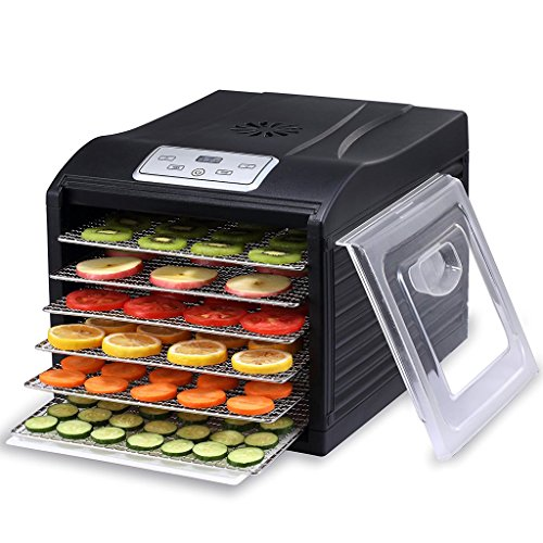 MAGIC MILL PRO Countertop Food Dehydrator, 6 Stainless Steel Drying Shelves, Digital 8 Preset Temperature controls and Timer (Open Country Dehydrator 500 Watt compare prices)