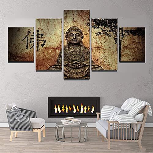 Cartel de la Estatua de Buda religioso,5 Piezas Impresiones en Lienzo HD Moderno Pared el Arte Impresión Decoración...
