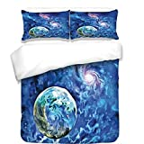 3Pcs Duvet Cover Set,Constellation,Exo Solar Planet Painting Style Vibrant Universe Awesome Space,Turquoise Blue Light Pink,Best Bedding Gifts for Family/Friends