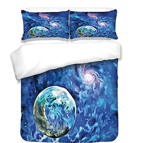 3Pcs Duvet Cover Set,Constellation,Exo Solar Planet Painting Style Vibrant Universe Awesome Space,Turquoise Blue Light Pink,Best Bedding Gifts for Family/Friends by iPrint