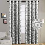 Blackout Curtains 96 Length for Living Room, Ikat Fret Pattern Gray Blackout Window Curtains, Thermal Insulated Grommet Top Window Treatment Draperies (2 Panel, 96