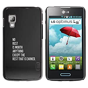Graphic4You No Rest Message Quote Thin Slim Rigid Hard Case Cover for LG Optimus L5 II