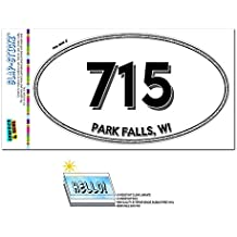 Graphics and More Area Code Oval Window Laminated Sticker 715 Wisconsin WI Marengo - Presque Isle - Park Falls