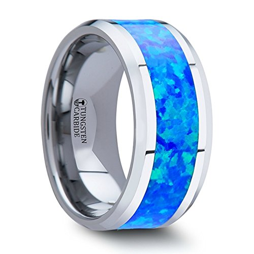 Thorsten Quasar Tungsten Contemporary Metal by Wedding Band Ring with Blue Green Opal Inlay 10mm Wide from Roy Rose Jewelry