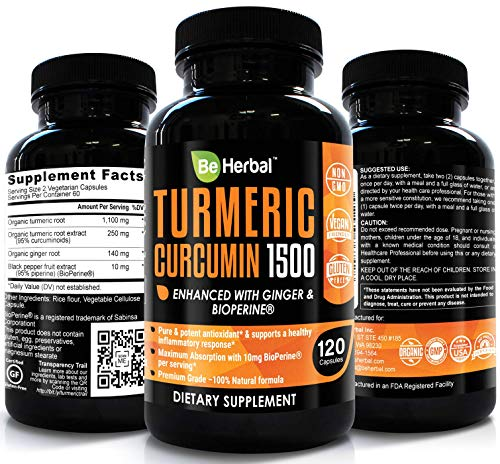 BE HERBAL Organic Turmeric Curcumin with Bioperine 1500mg - The Most Potent Turmeric Curcumin Supplement with 95% Standardized Curcuminoids - Enhanced with Ginger Extract - 120 Veg -
