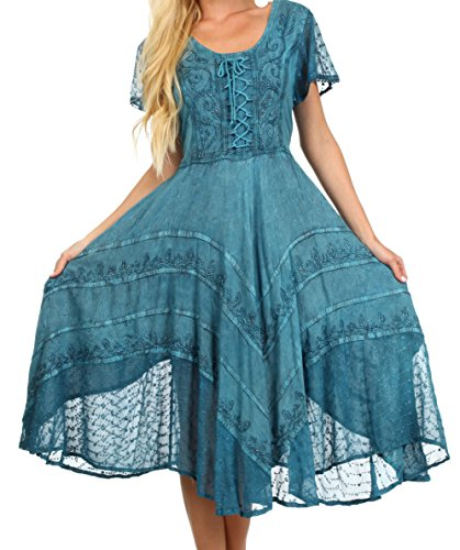 Sakkas 1322 - Sakkas Marigold Embroidered Fairy Dress - Turquoise Blue - L/XL (Green Fairy Dress)