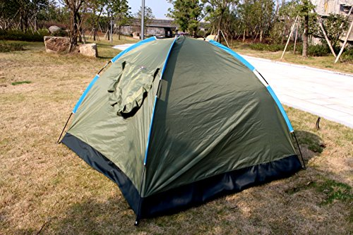 EverKing 3-4 Person Portable Outdoor Folding Tent Lightweight Waterproof Single Layer Backpacking Tent for Outdoor Sports Camping Hiking Travel Beach with Carrying Bag (army green)
